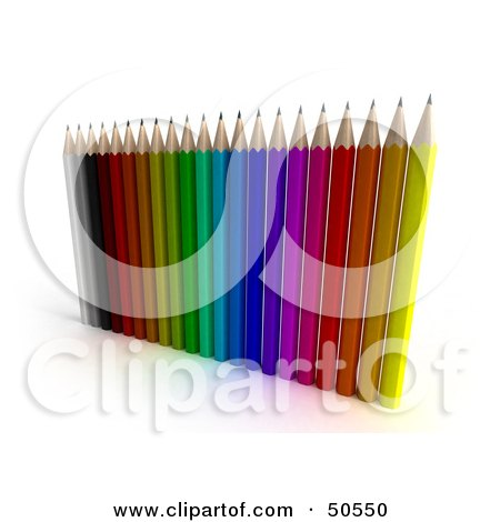 Royalty-Free (RF) 3D Clipart Illustration of an Array of Pencils by Frank Boston