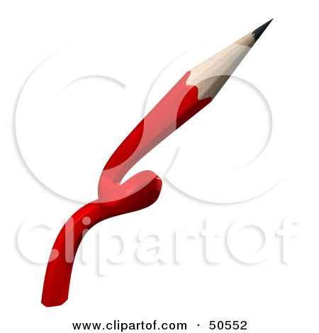 Royalty-Free (RF) 3D Clipart Illustration of a Twisted Red Pencil by Frank Boston