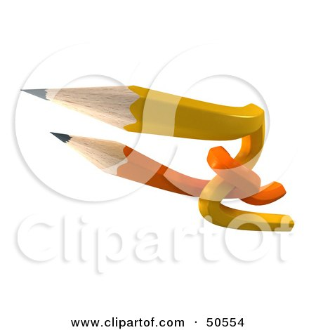 Royalty-Free (RF) 3D Clipart Illustration of Orange and Yellow Entwined Pencils by Frank Boston