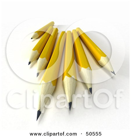 Royalty-Free (RF) 3D Clipart Illustration of a Group of Sharp Yellow Pencils by Frank Boston