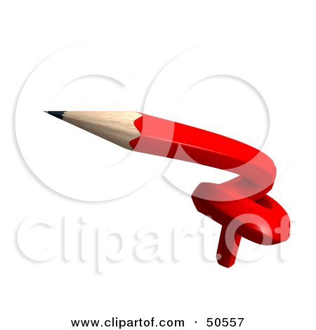 Royalty-Free (RF) 3D Clipart Illustration of a Knotted Red Pencil by Frank Boston