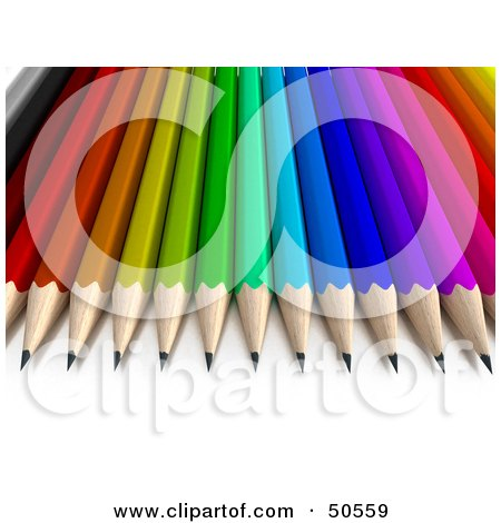 Royalty-Free (RF) 3D Clipart Illustration of a Colorful Rainbow Array of Pencils by Frank Boston