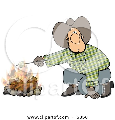 Cowboy Man Roasting a Marshmallow Over a Campfire Clipart by djart