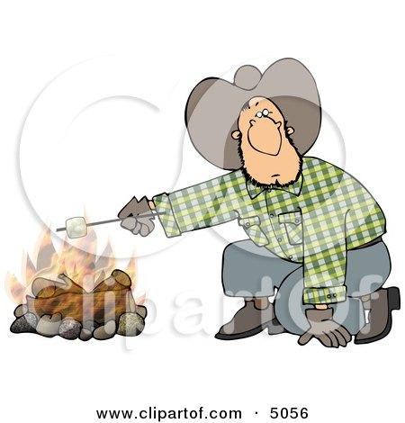 Cowboy Man Roasting A Marshmallow Over A Campfire Clipart