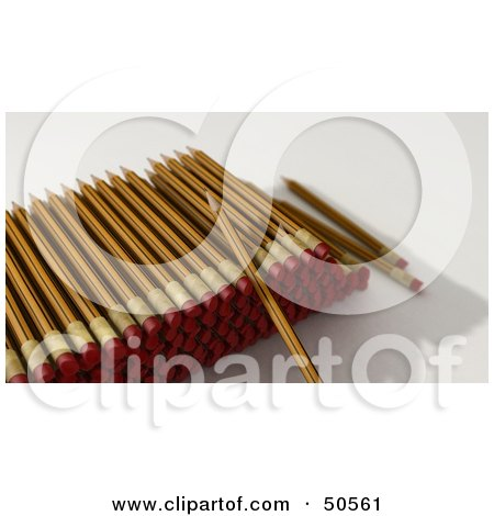 Royalty-Free (RF) 3D Clipart Illustration of a Stack of Sharpened Pencils With Erasers by Frank Boston