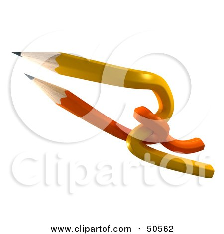Royalty-Free (RF) 3D Clipart Illustration of Orange and Yellow Interlaced Pencils by Frank Boston