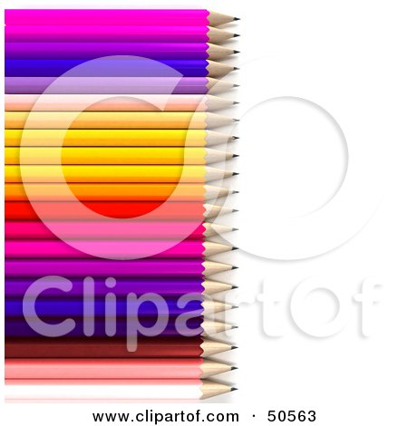 Royalty-Free (RF) 3D Clipart Illustration of a Row of a Colorful Rainbow Array of Pencils by Frank Boston