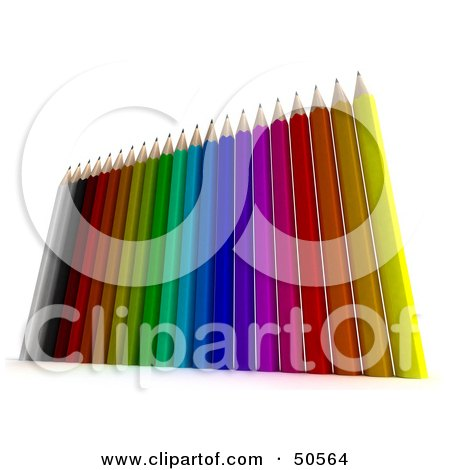 Royalty-Free (RF) 3D Clipart Illustration of Colorful Upright Pencils by Frank Boston