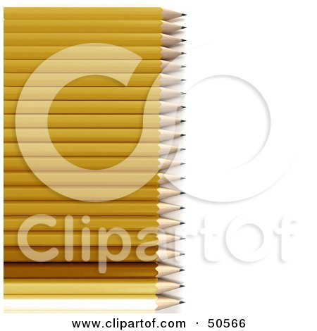 Royalty-Free (RF) 3D Clipart Illustration of Sharpened Yellow, White And Wooden Pencils by Frank Boston