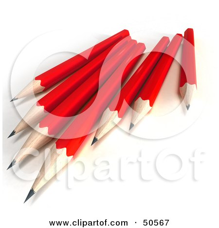 Royalty-Free (RF) 3D Clipart Illustration of a Group of Sharp Red Pencils by Frank Boston