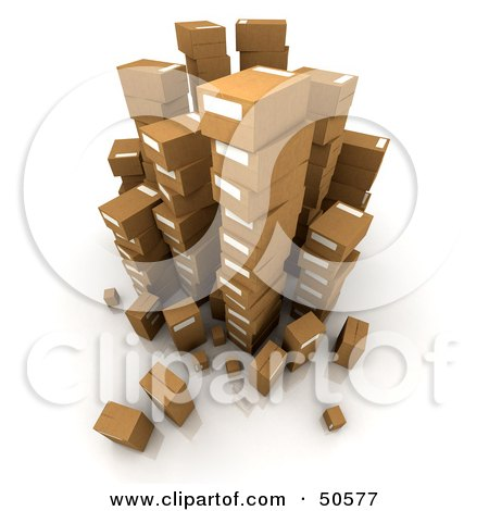 Royalty-Free (RF) 3D Clipart Illustration of Stacks of Cardboard Boxes - Angle 2 by Frank Boston