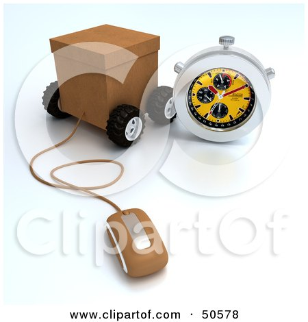 Royalty-Free (RF) 3D Clipart Illustration of a Wheeled Shipping Box With A Computer Mouse And Stop Watch by Frank Boston