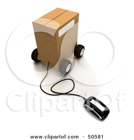 Royalty-Free (RF) 3D Clipart Illustration of a Computer Mouse Connected to a Parcel - Version 4 by Frank Boston