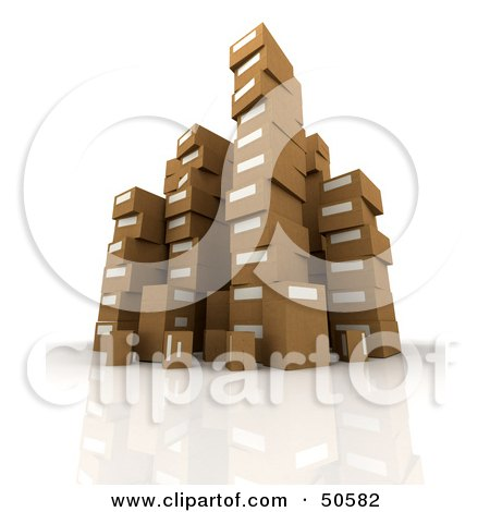 Royalty-Free (RF) 3D Clipart Illustration of Stacks of Cardboard Boxes - Angle 1 by Frank Boston