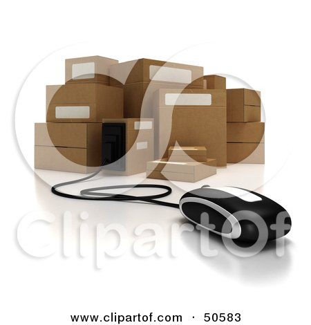 Royalty-Free (RF) 3D Clipart Illustration of a Computer Mouse Connected to Cardboard Boxes - Version 1 by Frank Boston
