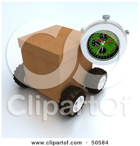 Royalty-Free (RF) 3D Clipart Illustration of a Stopwatch Resting Against A Shipping Box - Version 3 by Frank Boston