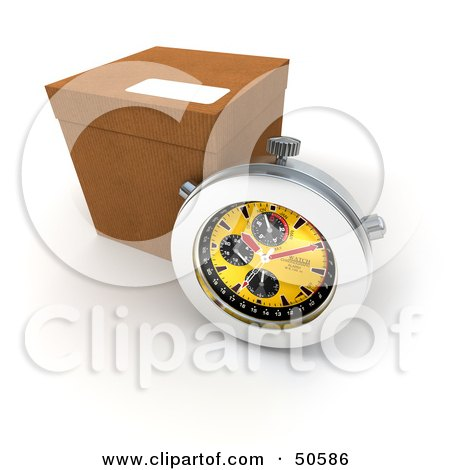 Royalty-Free (RF) 3D Clipart Illustration of a Stopwatch Resting Against A Shipping Box - Version 1 by Frank Boston