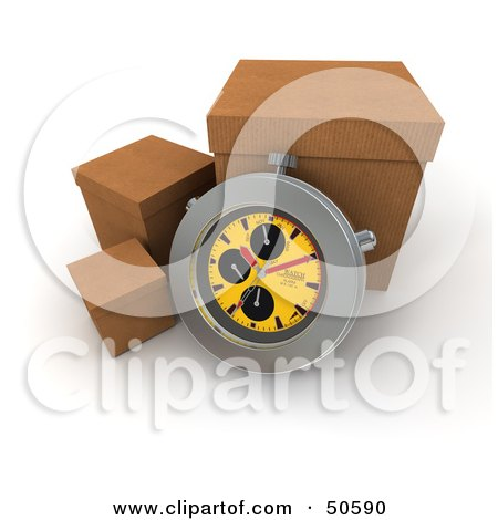 Royalty-Free (RF) 3D Clipart Illustration of a Stopwatch Resting Against A Shipping Box - Version 4 by Frank Boston