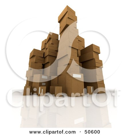 Royalty-Free (RF) 3D Clipart Illustration of Stacks of Cardboard Boxes - Angle 5 by Frank Boston