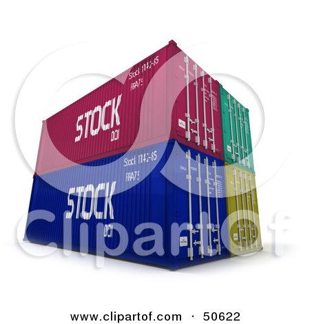 Royalty-Free (RF) 3D Clipart Illustration of Four Stacked Cargo Containers by Frank Boston