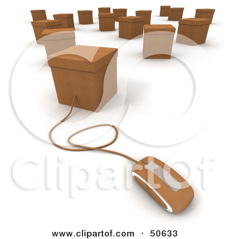 Royalty-Free (RF) 3D Clipart Illustration of a Computer Mouse Connected to A Box - Version 7 by Frank Boston