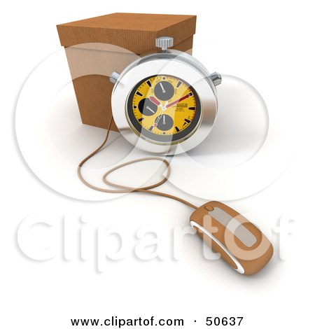 Royalty-Free (RF) 3D Clipart Illustration of a Yellow Stopwatch By A Box With A Computer Mouse by Frank Boston