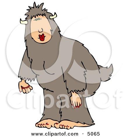 Woman Wearing a Halloween Bigfoot Costume Clipart by djart