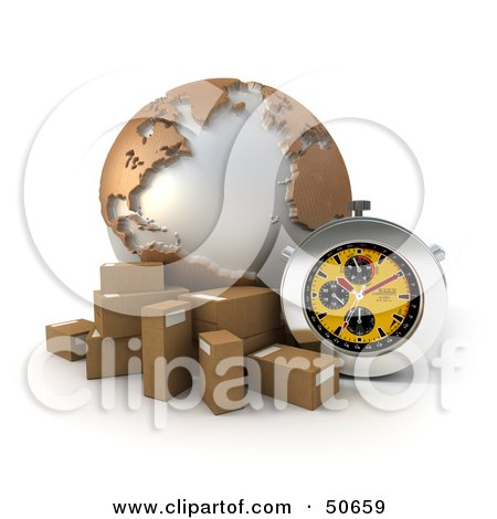 Royalty-Free (RF) 3D Clipart Illustration of a Yellow Stopwatch By A Globe And Parcels by Frank Boston