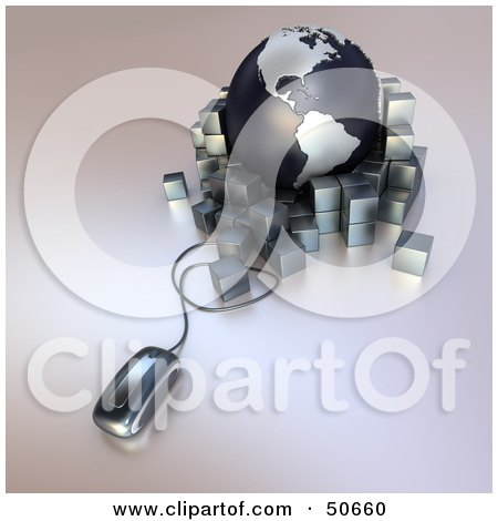 Royalty-Free (RF) 3D Clipart Illustration of a Computer Mouse In Front Of A Globe With Parcels - Version 2 by Frank Boston