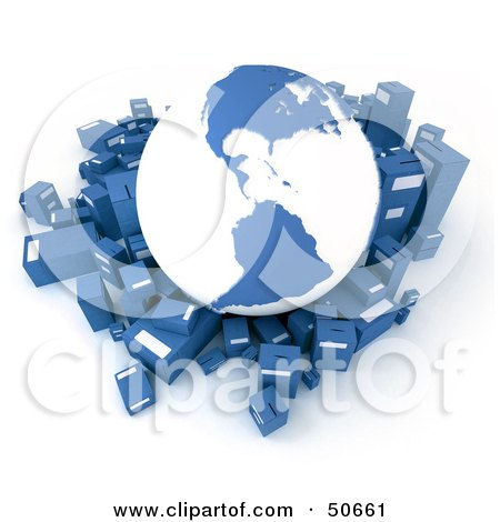 Royalty-Free (RF) 3D Clipart Illustration of a Blue Globe Surrounded By International Shipment Parcels - Version 1 by Frank Boston