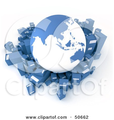 Royalty-Free (RF) 3D Clipart Illustration of a Blue Globe Surrounded By International Shipment Parcels - Version 2 by Frank Boston