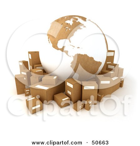 Royalty-Free (RF) 3D Clipart Illustration of a Cardboard Globe Surrounded by Shipping Parcels - Version 5 by Frank Boston