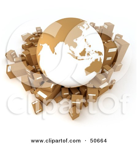 Royalty-Free (RF) 3D Clipart Illustration of a Cardboard Globe Surrounded by Shipping Parcels - Version 1 by Frank Boston