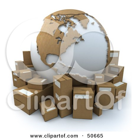 Royalty-Free (RF) 3D Clipart Illustration of a Cardboard Globe Surrounded by Shipping Parcels - Version 4 by Frank Boston