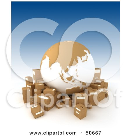 Royalty-Free (RF) 3D Clipart Illustration of a Cardboard Globe Surrounded By Shipping Boxes - Version 4 by Frank Boston