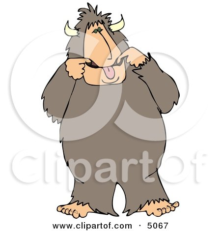 Bigfoot Man Making a Funny Face Clipart by djart