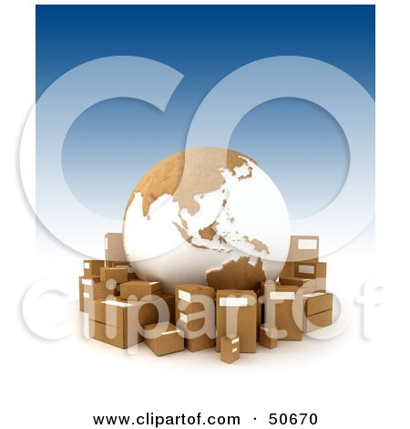 Royalty-Free (RF) 3D Clipart Illustration of a Cardboard Globe Surrounded By Shipping Boxes - Version 1 by Frank Boston