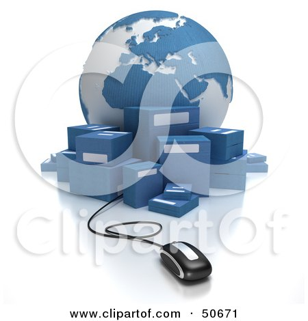 Royalty-Free (RF) 3D Clipart Illustration of a Globe With Boxes and a Computer Mouse - Version 3 by Frank Boston