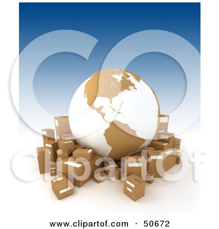 Royalty-Free (RF) 3D Clipart Illustration of a Cardboard Globe Surrounded By Shipping Boxes - Version 3 by Frank Boston