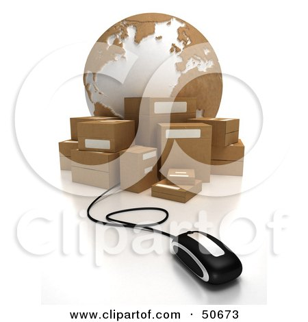 Royalty-Free (RF) 3D Clipart Illustration of a Globe With Boxes and a Computer Mouse - Version 4 by Frank Boston