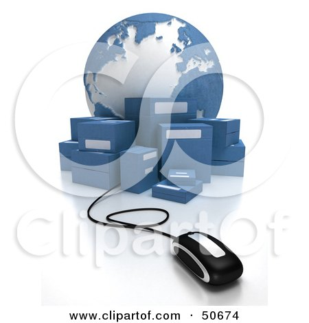Royalty-Free (RF) 3D Clipart Illustration of a Globe With Boxes and a Computer Mouse - Version 1 by Frank Boston