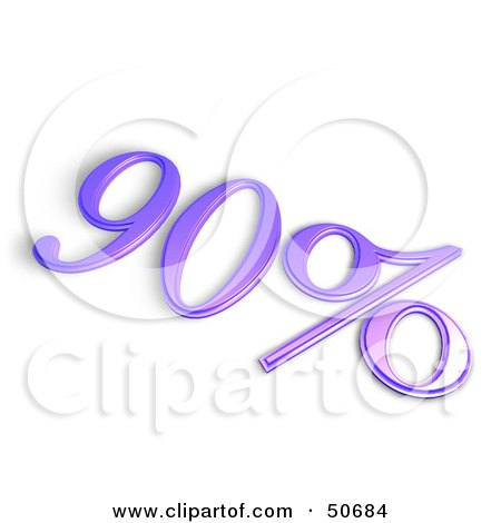 Royalty-Free (RF) 3D Clipart Illustration of a Purple 3d 90 Percent Off Or Interest Sign by MacX