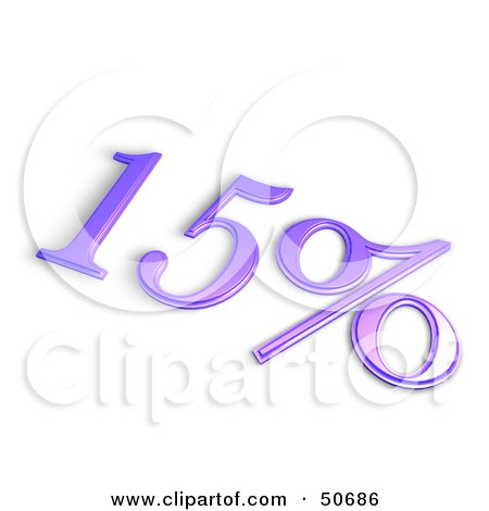 Royalty-Free (RF) 3D Clipart Illustration of a Purple 3d 15 Percent Off Or Interest Sign by MacX
