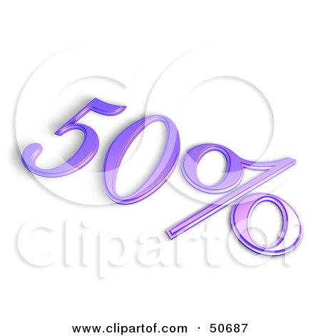 Royalty-Free (RF) 3D Clipart Illustration of a Purple 3d 50 Percent Off Or Interest Sign by MacX