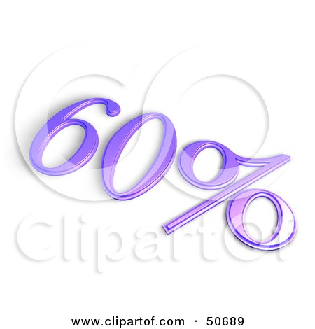 Royalty-Free (RF) 3D Clipart Illustration of a Purple 3d 60 Percent Off Or Interest Sign by MacX