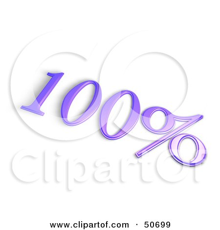 Royalty-Free (RF) 3D Clipart Illustration of a Purple 3d 100 Percent Off Or Interest Sign by MacX