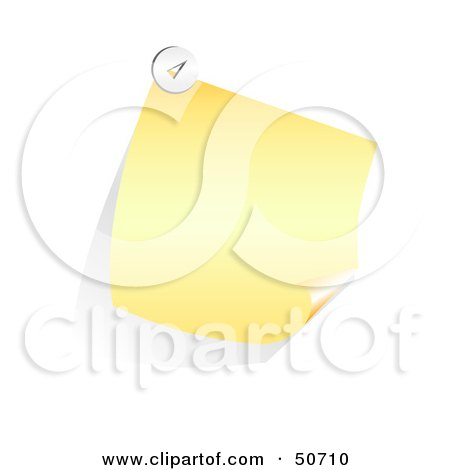 Royalty-Free (RF) Clipart Illustration of a Slanted And Curling Yellow Memo Note by MacX