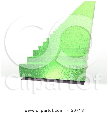 Royalty-Free (RF) Clipart Illustration of Green 3d Stairs Leading Upwards To The Unknown by MacX