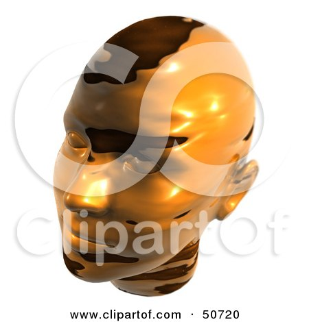 Royalty-Free (RF) Clipart Illustration of a Melting Gold Metal Human Head Looking Left by MacX