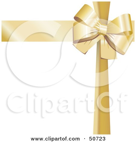 Royalty-Free (RF) Clipart Illustration of a Gold Ribbon and Bow Around a White Gift by MacX